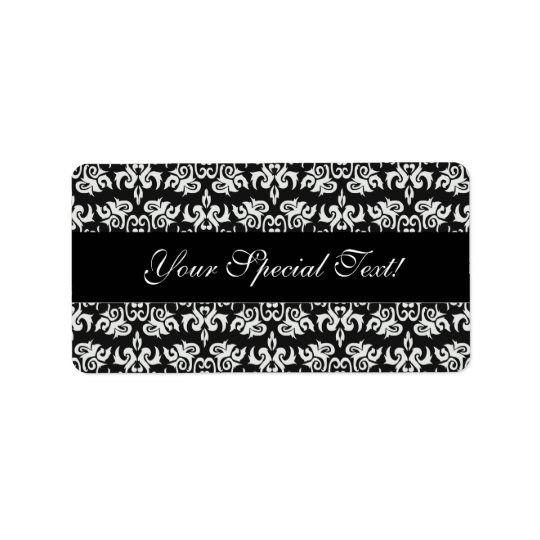 Black and White Vintage Damask Labels