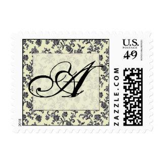 Black and white vintage damask monogram postage