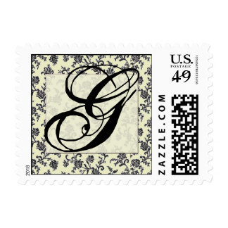 Black and white vintage damask monongram postage