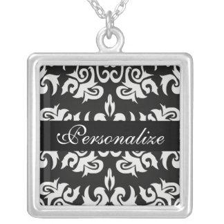 Black and White Vintage Damask Necklace