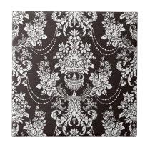 Black and white vintage  damask pattern customize ceramic tile