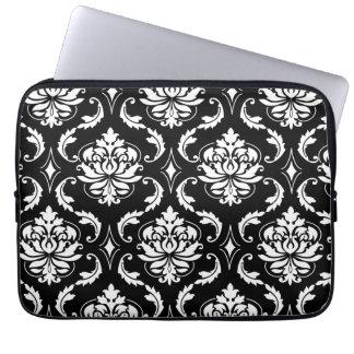 Black and White Vintage Damask Pattern Laptop Sleeves