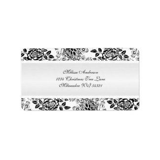 Black and White Vintage Damask Personalized Address Label