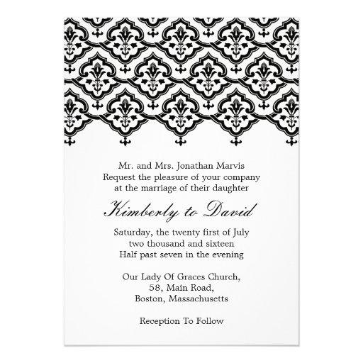 Black And White Vintage Damask Wedding Invitation 5 X 7 Invitation Card