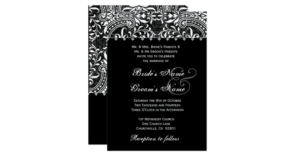 Black And White Vintage Damask Wedding Invitation