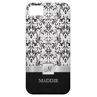 Black and White Vintage Damask with Monogram iPhone 5 Cases
