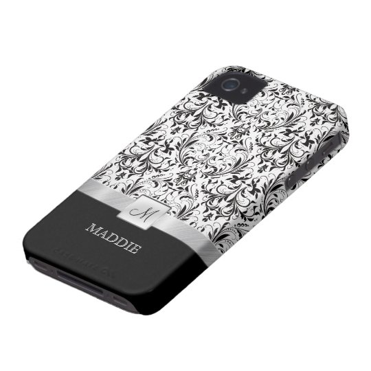 Black and White Vintage Damask with Monogram iPhone 4 Case