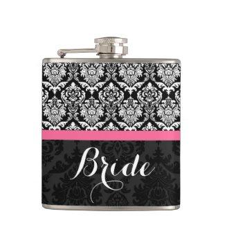 Black And White Vintage Damasks Bride Hip Flasks