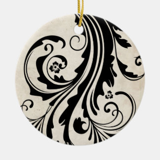 Black and White Vintage Floral Chic Wedding Christmas Ornaments