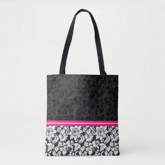 Black And White Vintage Floral Damask Tote Bag
