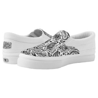Black And White Vintage Floral Paisley Lace Slip-On Sneakers