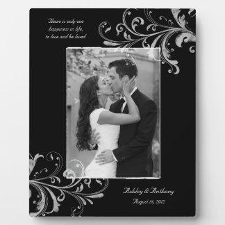 Black and White Vintage Floral Photo Wedding Plaque