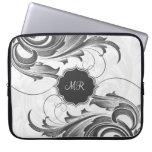 Black And White Vintage Floral Swirls-Monogram Laptop Sleeve