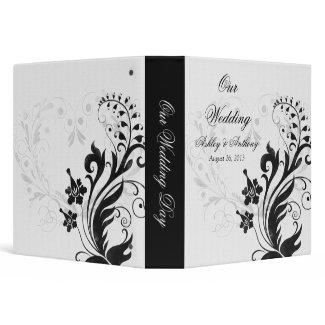 Black and White Vintage Floral Wedding Binder binder