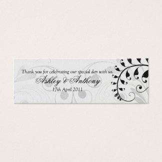 Black and White Vintage Floral Wedding Favour Tags