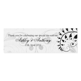 Black and White Vintage Floral Wedding Favour Tags Mini Business Card