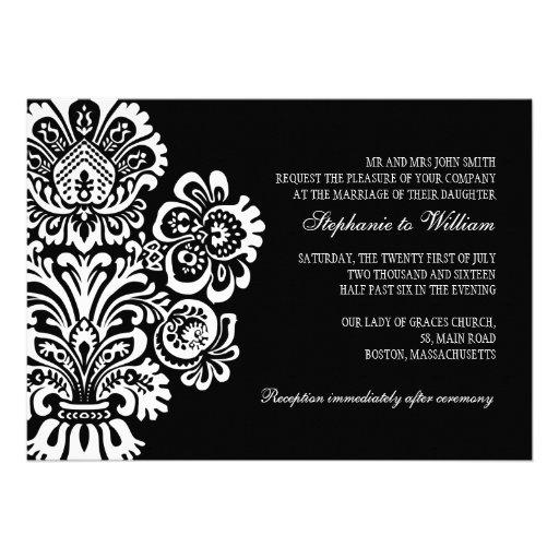 Black And White Vintage Floral Wedding Invitation 5 X 7 Invitation Card