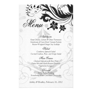 Black and White Vintage Floral Wedding Menu Card