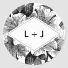 Black and White Vintage Floral Wedding Monogram Classic Round Sticker