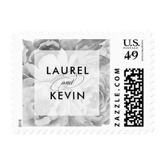 Black and White Vintage Floral Wedding Postage