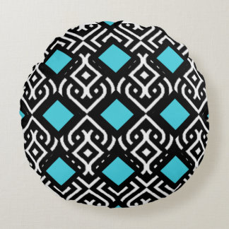 Black and White Vintage Geo - Aqua Blue Acce Round Pillow