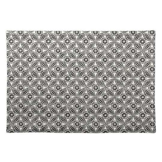 Black and White Vintage Leaves Abstract Placemat