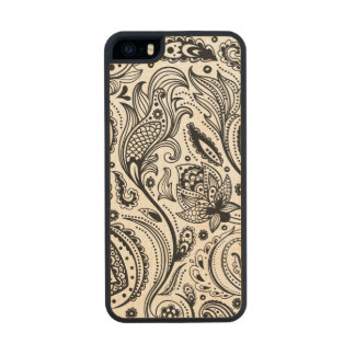 Black And White Vintage Paisley Pattern Wood iPhone SE/5/5s Case