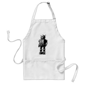 Black and White Vintage Robot Adult Apron