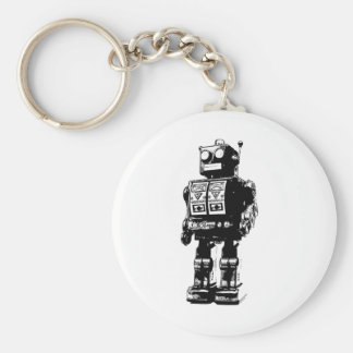 Black and White Vintage Robot Basic Round Button Keychain