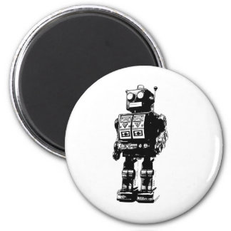 Black and White Vintage Robot Fridge Magnet