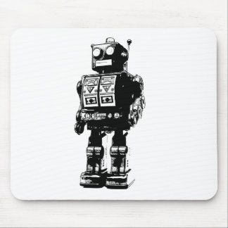 Black and White Vintage Robot Mouse Pad