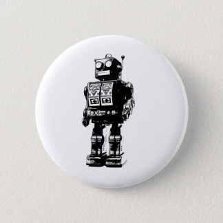 Black and White Vintage Robot Pinback Button