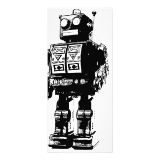 Black and White Vintage Robot Rack Card