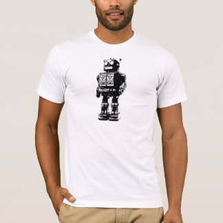 Black and White Vintage Robot T-Shirt