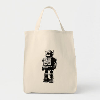 Black and White Vintage Robot Tote Bag