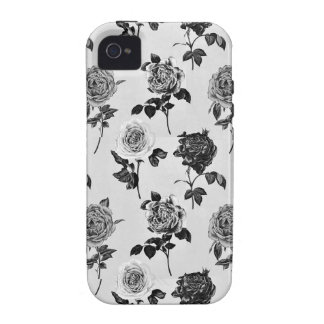 Black and White Vintage Rose Iphone 4 Case