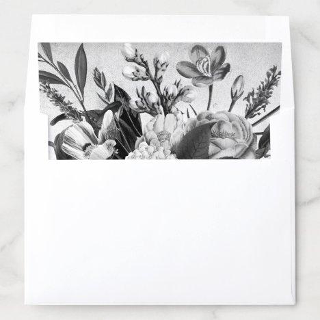 Black and White Vintage Rustic Floral Envelope Liner