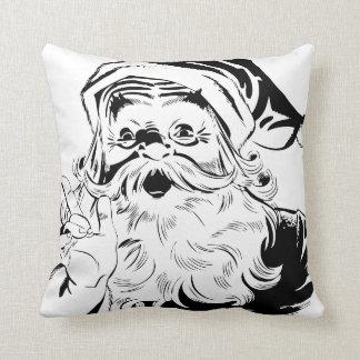 Black and White Vintage Santa Christmas Pillow