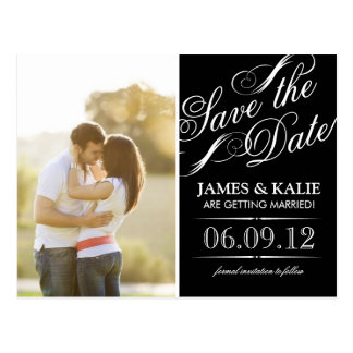 Black and White Vintage Script Photo Save the Date Postcard