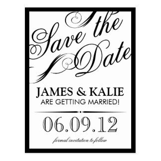 Black and White Vintage Script Save the Date Postcards