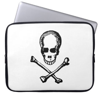 Black and White Vintage Skull and Crossbones Laptop Sleeve