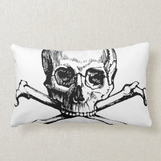 Black and White Vintage Skull and Crossbones Lumbar Pillow