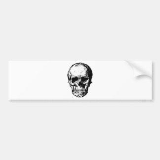 Black and White Vintage Skull Illustration Bumper Sticker