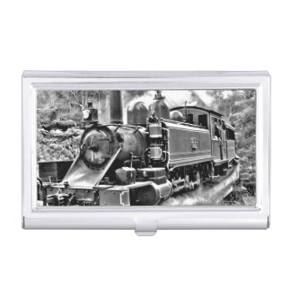 Black and White Vintage Steam Train Engine Business Card Case