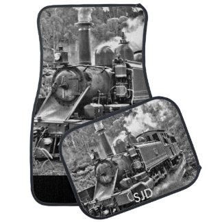 Black and White Vintage Steam Train Engine Car Mat