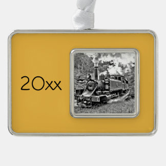 Black and White Vintage Steam Train Engine Christmas Ornament