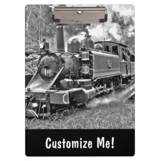 Black and White Vintage Steam Train Engine Clipboard