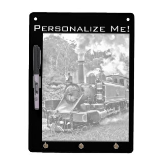 Black and White Vintage Steam Train Engine Dry Erase Board