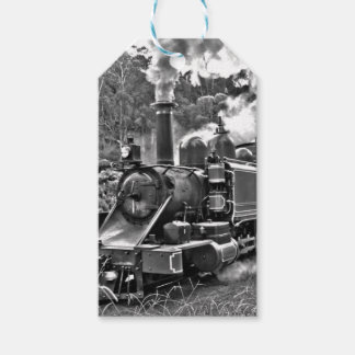 Black and White Vintage Steam Train Engine Gift Tags