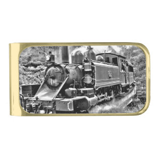 Black and White Vintage Steam Train Engine Gold Finish Money Clip